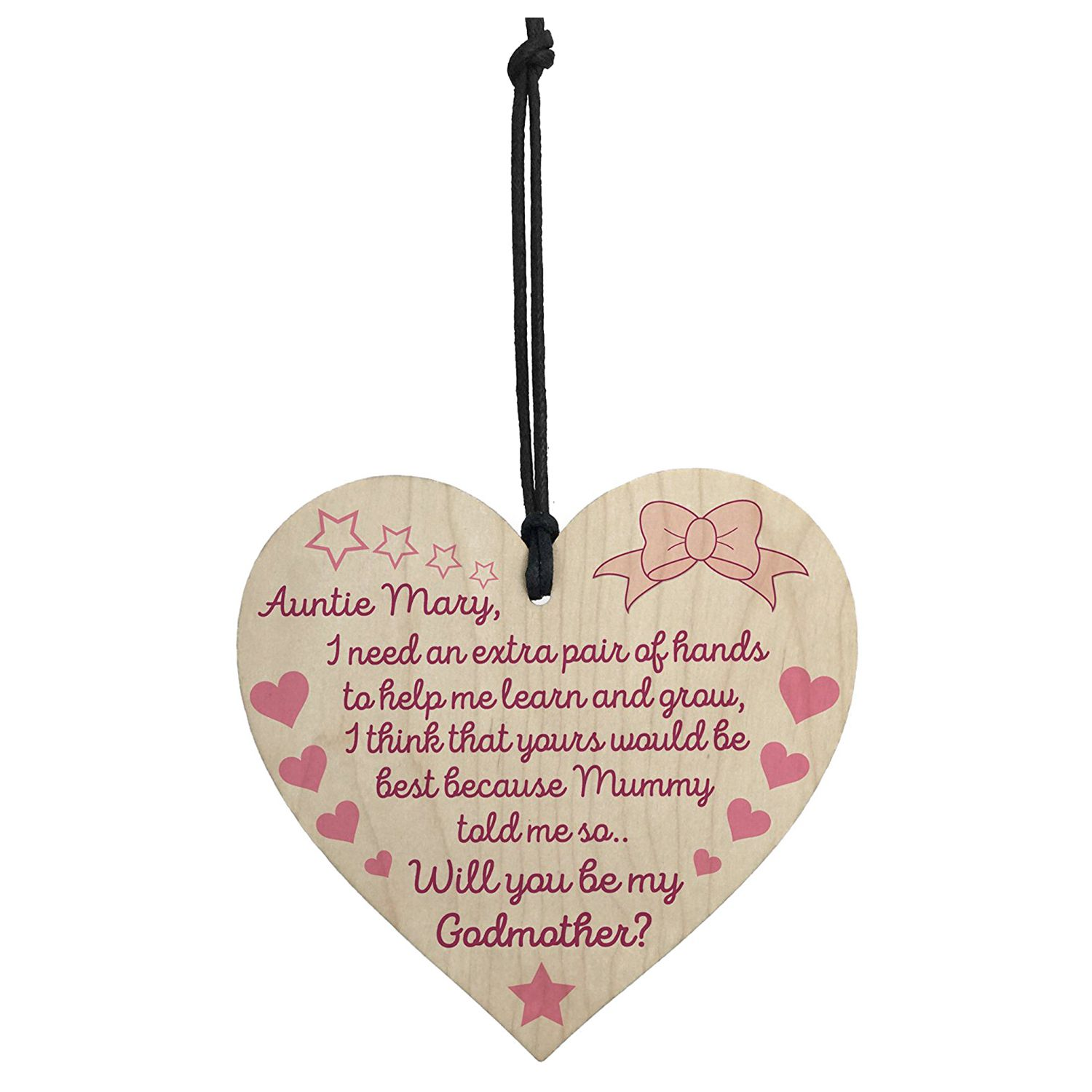 Home, Furniture & DIY Personalised Will You Be My Godmother Heart Plaque Gift