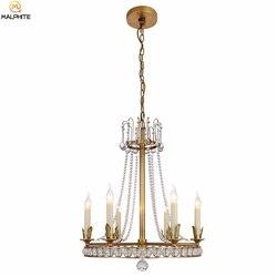 Miedziany połysk kryształowa lampa wisząca amerykańska restauracja kinkiety lampy kryształowe do zawieszenia sypialnia salon oprawa oświetleniowa w Wiszące lampki od Lampy i oświetlenie na