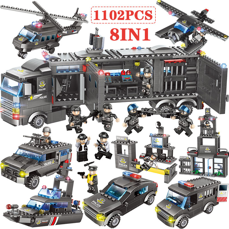 Blocks Considerate 1102-1122pcs City Police Station Building Blocks Compatible Legoingly Ww2 City Truck Swat Team Bricks Educational Toy For Boys Products Hot Sale Model Building