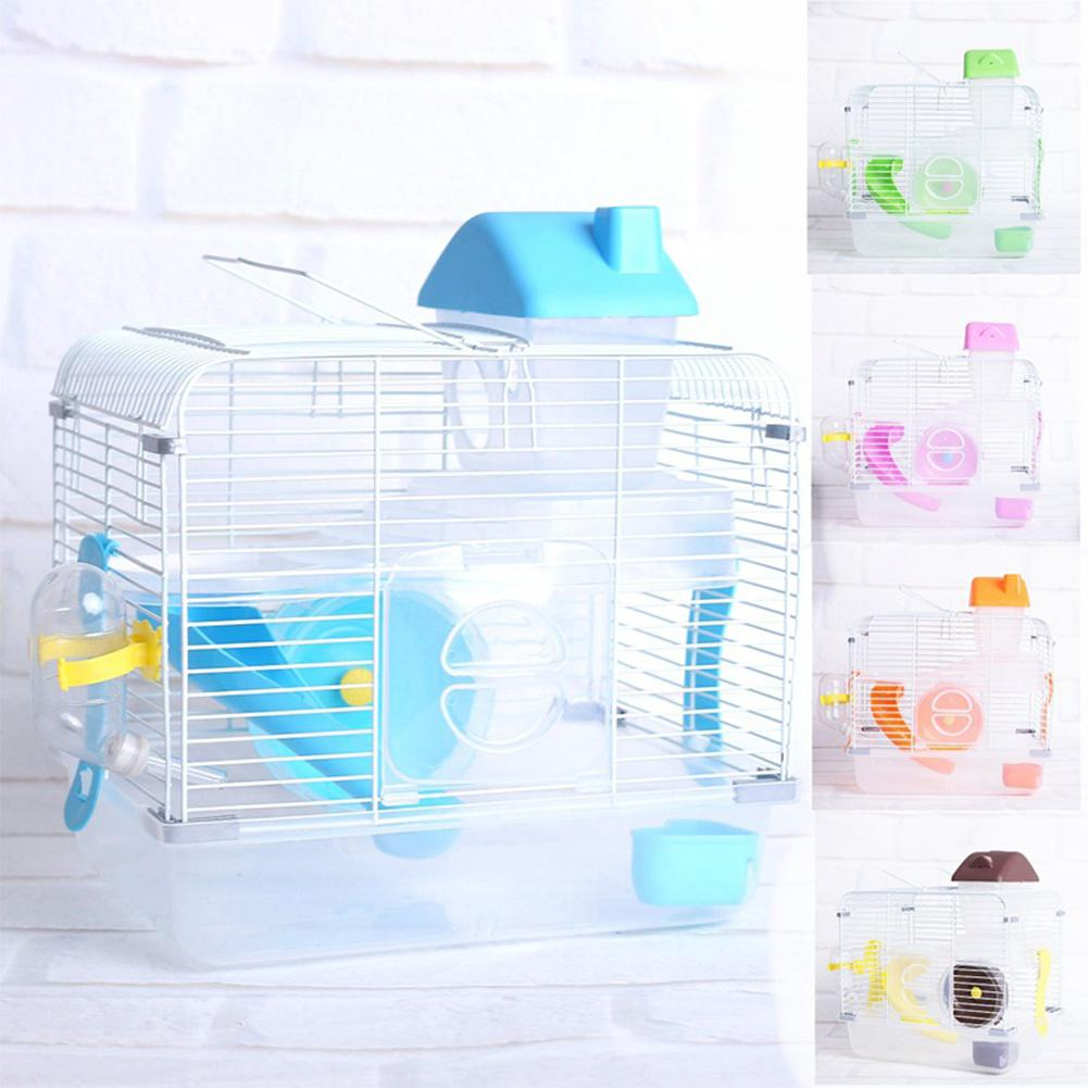 AsyPets Crystal Pet Cage Hamster Cottage Double Layer House For Hamster Golden Hamster Pet