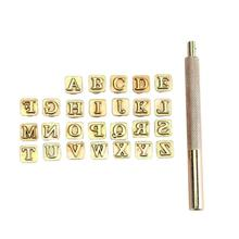 26pcs Wood Leather Punching Stamp Set Carbon Steel Metal Alphabet Stamps A-Z Letter with Handle Leather Tools Leathercraft 3 8 10mm letter steel stamp die punch set a z 27 pcs part codes