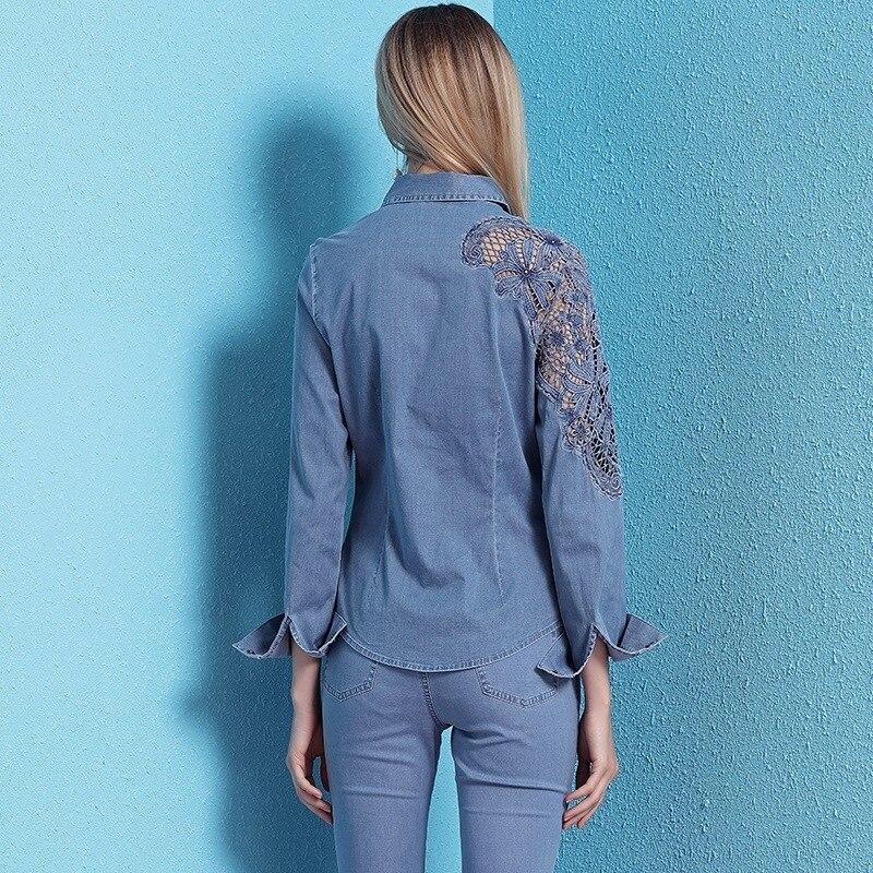 2019 lente en zomer nieuwe collectie damesmode hol uit denim shirt lange mouwen afslanken casual OL blouses NW19B6033 - 4