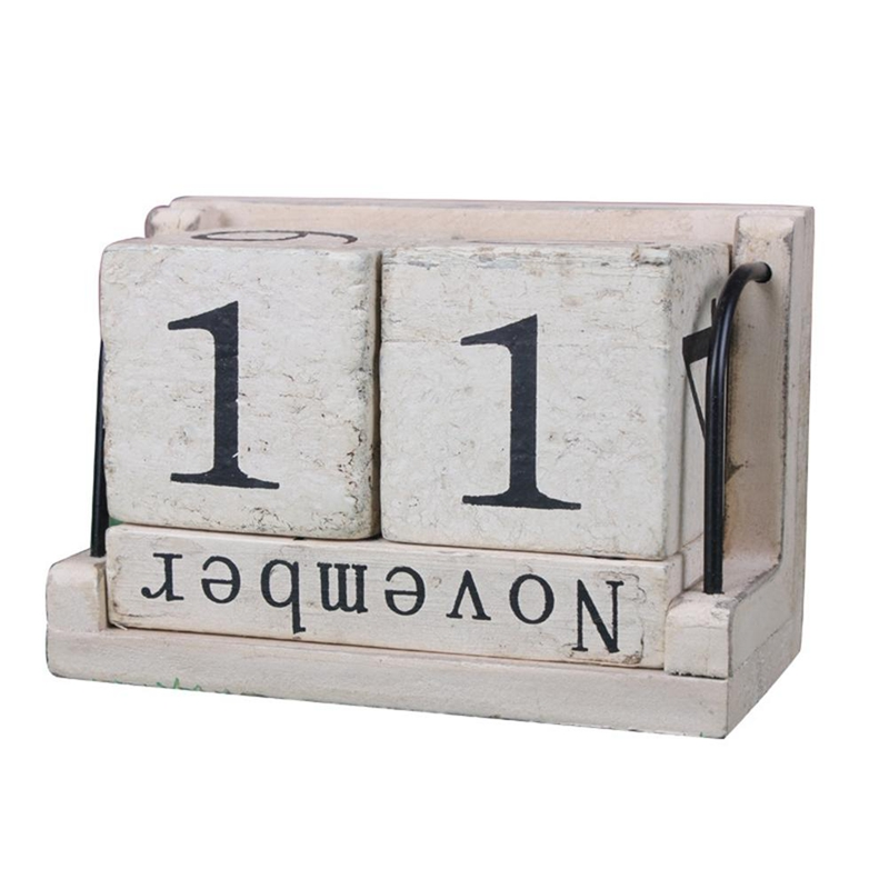 Wooden Perpetual Calendar Learning Countdown Retro Rustic Design Living Room Decoration Diy Yearly Planner Calendar