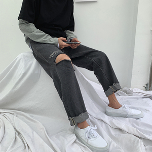 Image 4 - 2019 Korean Style Mens Fashion Trend Baggy Homme Blue Color Jeans Loose Trousers Holes Printing Jeans Casual Pants Size S 2XL