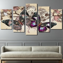 цена на Modular HD Prints Canvas Pictures Living Room Wall Art Framework 5 Pieces Flowers Butterfly Paintings Home Decor Animal Posters