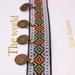 Image 4 - Ethnic Polyester Lace Trim With Copper Decoration Vintage Fabric Ribbon Sewing Crafts Accessory Embellishment 20/25 mm 0.9m 1 PC