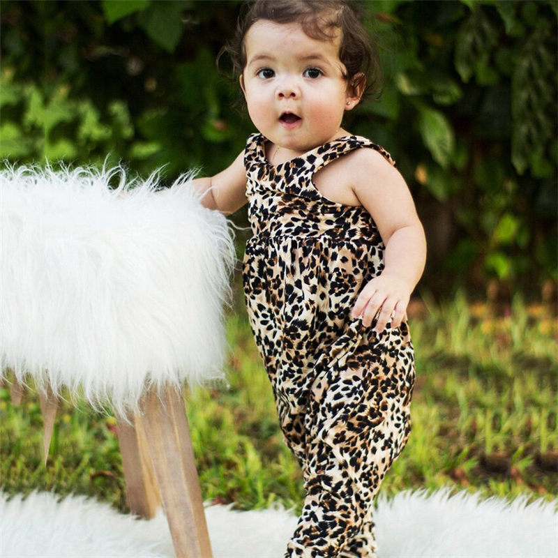 Pudcoco Hot Sale Comfort Newborn Baby Girl Leopard   Rompers   Casual Sleeveless Fashion Outfit Clothes Child 1pc   Romper   Wholesale