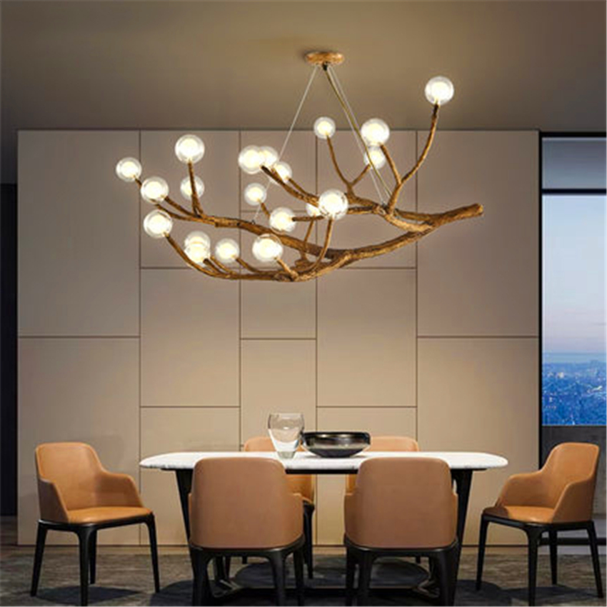 Nordic Vintage LED Chandelier Lighting Design Light Glass Resin Branch Pendant Lamp Ceiling Lamparas Lustre Art Kitchen FixturesNordic Vintage LED Chandelier Lighting Design Light Glass Resin Branch Pendant Lamp Ceiling Lamparas Lustre Art Kitchen Fixtures