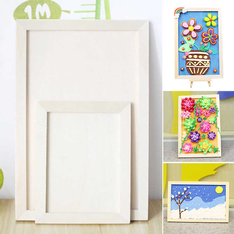 Wooden Photo Frame Blank Artist Canvas Board Painting Frame Artworks Display Frame Tripod Pictures Photo Kids Room Wood Decor