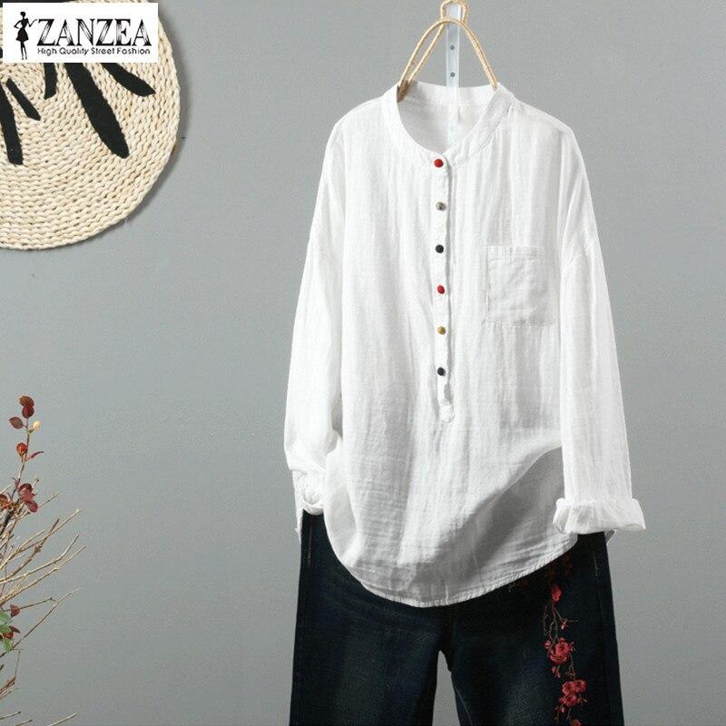 ZANZEA 2019 Spring Linen Top Vintage Women Button Down Blouse Female Long Sleeve Shirt Elegant Solid Work Blusa Plus Size Tops