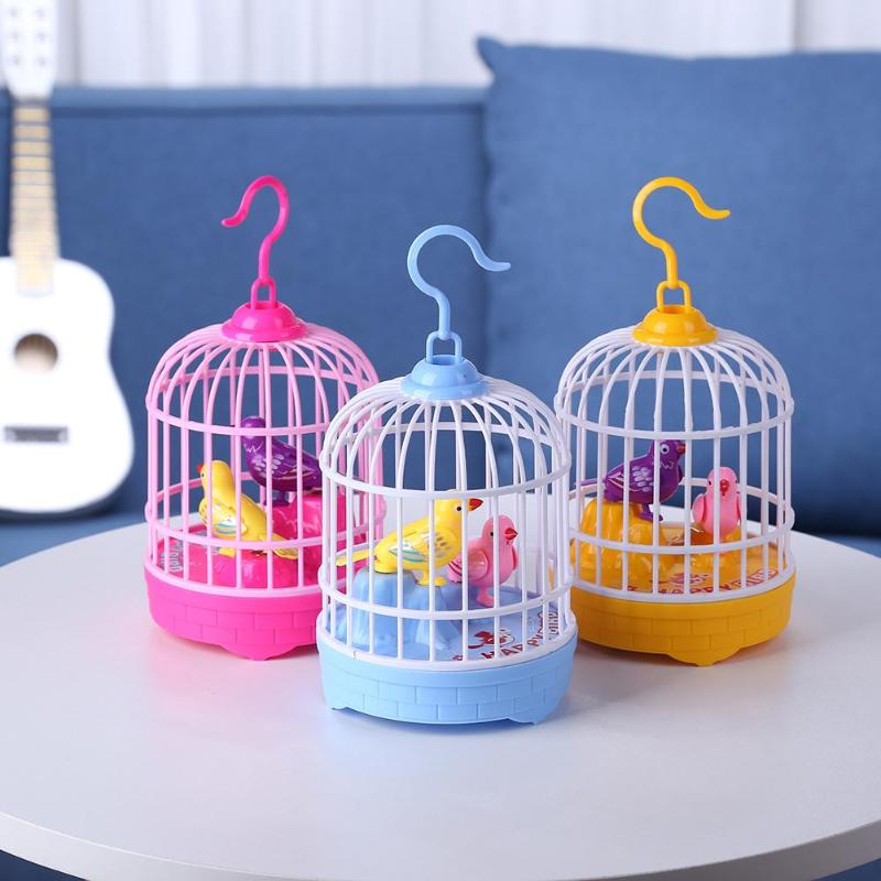 Voice Control Electric Simulation Induction Sing Bird Cage Birdcage Toy Home Decoration Garden Ornaments Funny Electric Kids Toy