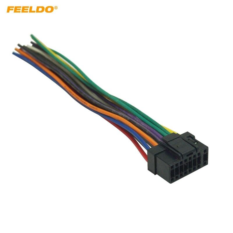 FEELDO Universal 16Pin Car Wire Harness Adapter Connector Plug Into Car DVD CD Radio Stereo #MX5701
