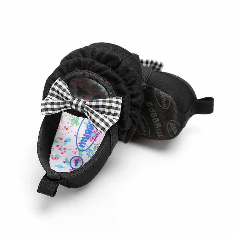 0-18 متر الطفل الرضع الفتيان فتاة لينة وحيد سرير الصنادل طفل الوليد Bowknot أحذية المتسكعون لينة سوليد أطفال Prewalker