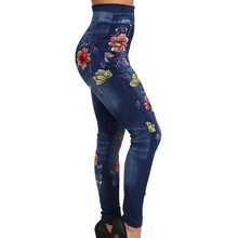1e8084f74c88b Faux Denim Jeans Leggings Vintage Floral Print Leggings Women Imitation  Jean Slim Fitness Leggings Elastic Seamless Leggins