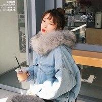 Winter Women Thick Jean Jacket Faux Fur Collar Hooded Denim Coat Female Fur Warm Denim Jacket Outwear