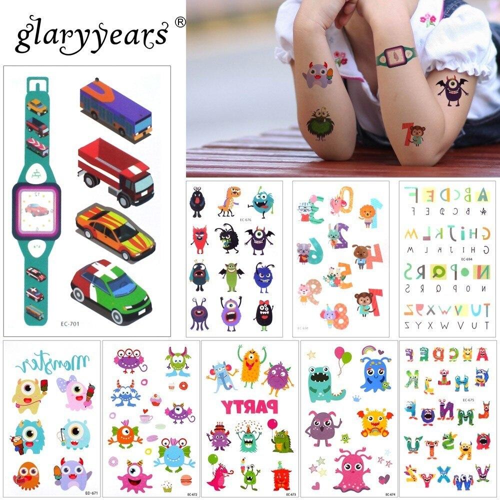 Glaryyears 1 Sheet Temporary Tattoo Sticker Cool Fake Tatoo Penguin Flash Tatto Waterproof Small Body Art Children 23 Designs