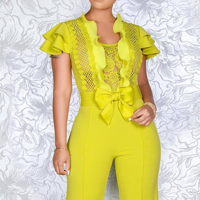 Summer Sexy Club Women Jumpsuits Casual Beach Style High Street Slim Plain Hollow Ruffles Bow Female Fashion Yellow Rompers