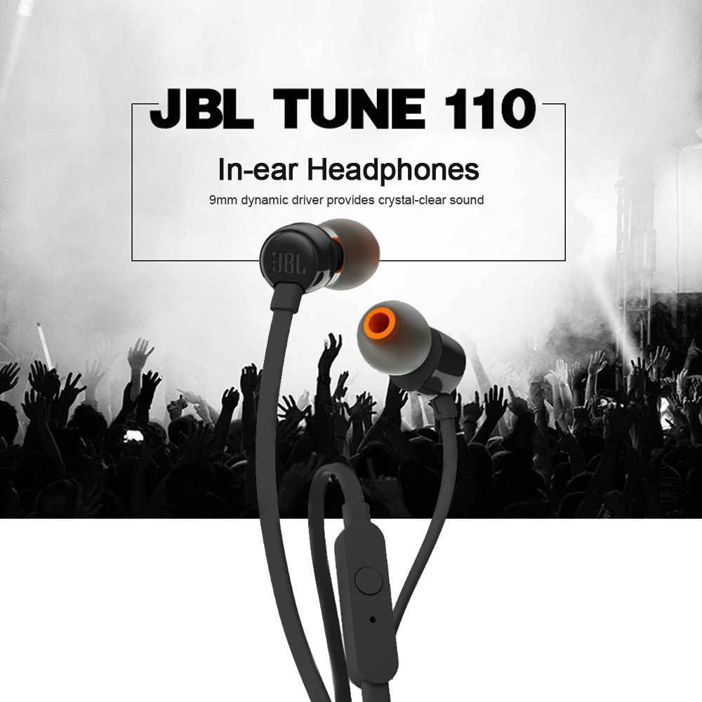 JBL T110 3.5mm słuchawki przewodowe muzyka stereo basowy zestaw słuchawkowy słuchawka sportowa sterowanie w linii głośnomówiący z mikrofonem