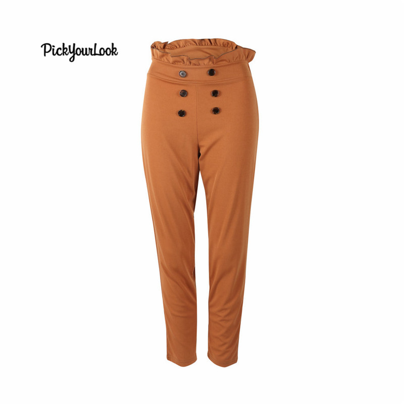 PickYourLook Women Pencil   Pants   High Waist Slim   Pants   Ankle -length OL   Pants     Capris   Trouser Casual Summer New 2019
