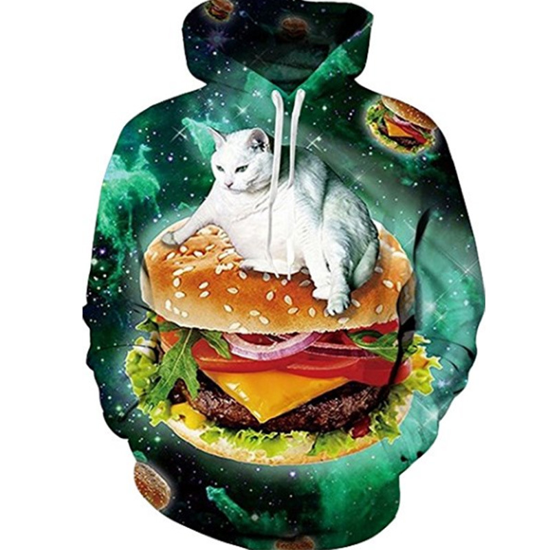 2018 New Style Space Star Cat Hamburg 3d Print Women/Men Sweatshirt Unisex Brand Couple Hoodies Casual Autumn Winter Coats
