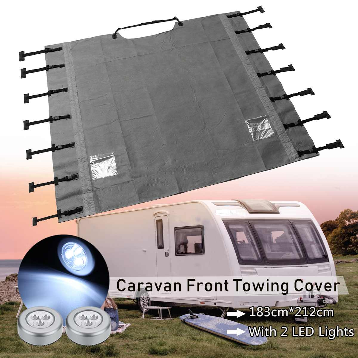 Universal Caravan Front Towing Cover Waterproof Dustproof with LED Lights for RV Motorhome