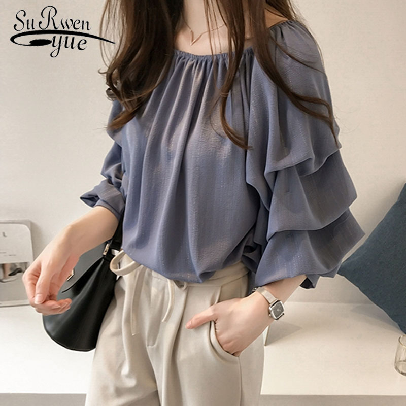Plus Size Shirt Women Blusa Feminina Fashion Woman Blouses 2019 Ladies Tops Blouse Women Casual O-neck Cothing Female 1183 40