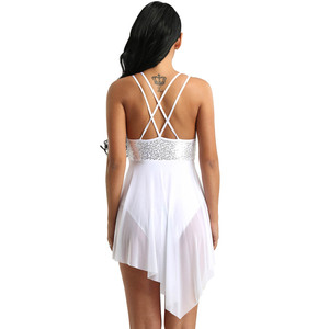 Image 4 - TiaoBug trajes de baile lírico de lentejuelas para mujer, malla asimétrica, tutú de Ballet, vestido de baile, gimnasia para adultos, leotardo
