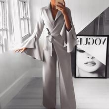 2019 Spring Irregular Flared Sleeve Long Jumpsuits Formal Knot Side Wide Leg Jumpsuit raglan sleeve knot side blouse