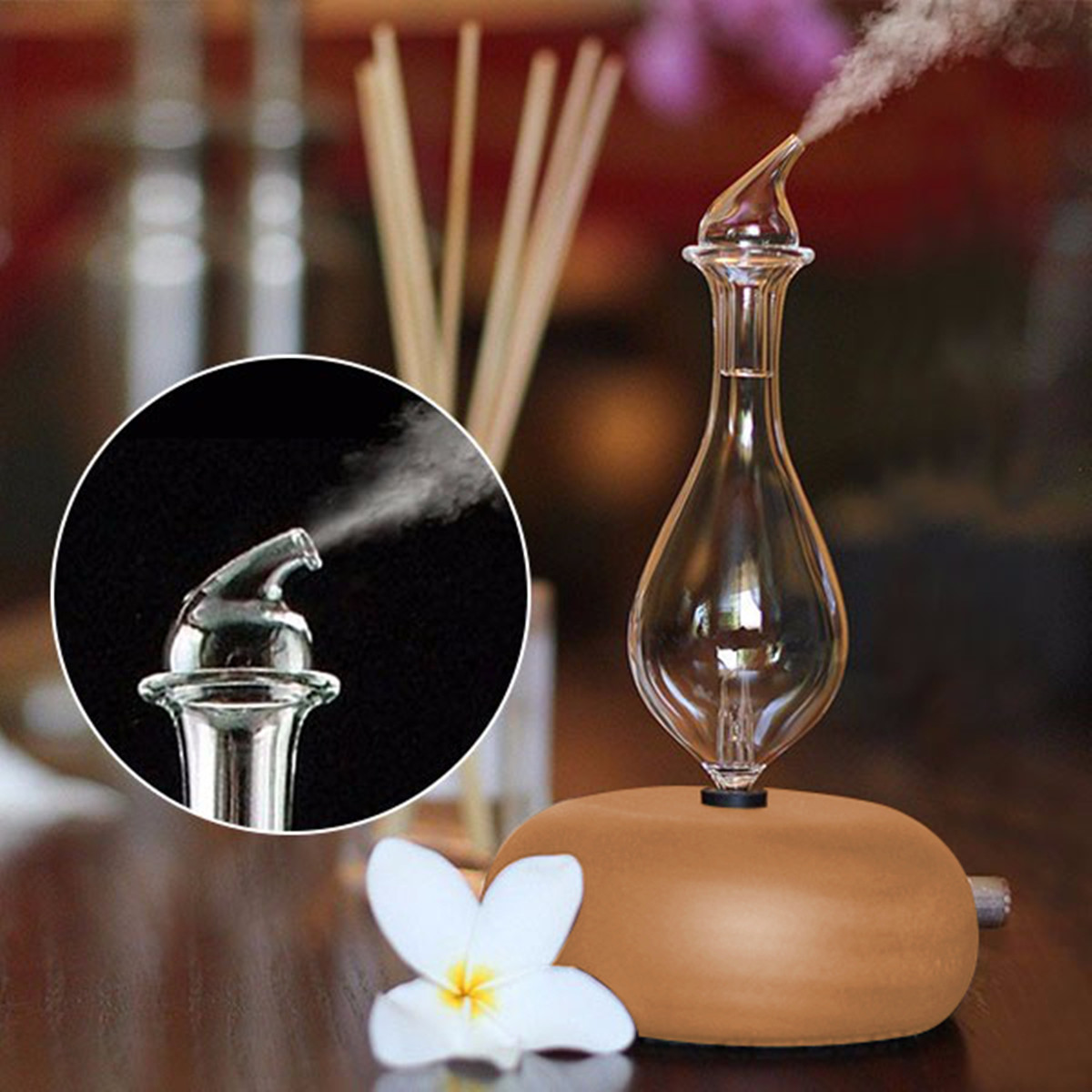 Wooden Glass Aromatherapy Pure Essential Oils Diffuser Air Nebulizer Humidifier Household Humidifier Air Conditioning Appliance