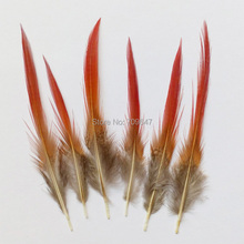 50Pcs/Lot!4-6inches 10-15cm long Red Tipped Golden Pheasant Feathers,Red Craft Feathers for Masks,Jewelry Making,