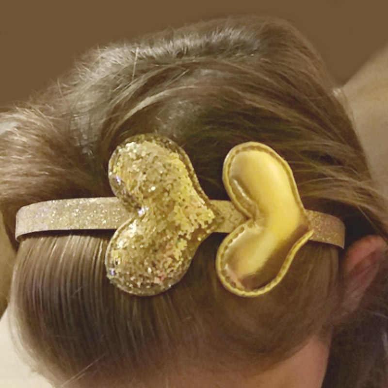 เด็กใหม่ Headband Golden ของขวัญ 1 PC Party เด็กสีชมพู Hairband สาวดาวเงินเลื่อม PU Handmade ผมอุปกรณ์เสริม