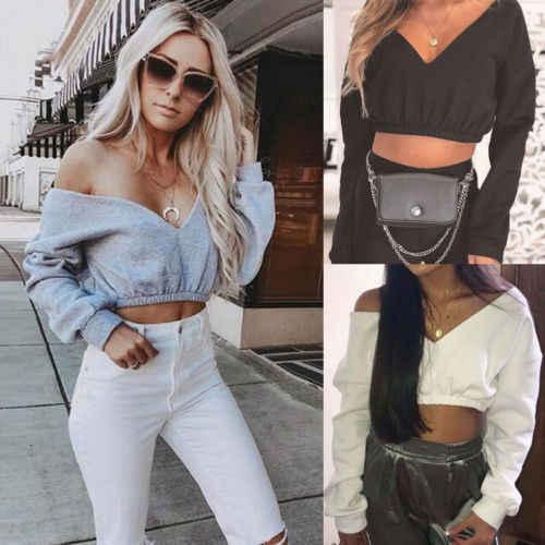 새로운 패션 섹시한 여성 가을 자르기 후드 긴 소매 캐주얼 여성 면화 스웨터 딥 브이 넥 오프 어깨 스트리트웨어