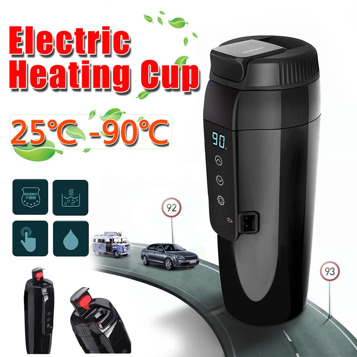 12V 350ml Vehicle Electric Heating Cup Portable Travel Heating Water Kettle Boiler Coffee Tea Milk Heated Mug Soaked Noodles