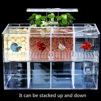 Aquarium Pet Betta Fish Tank Mini Desktop LED Light Acrylic Transparent Isolation Free Water Pump Filters Clear Bucket Fish Tank