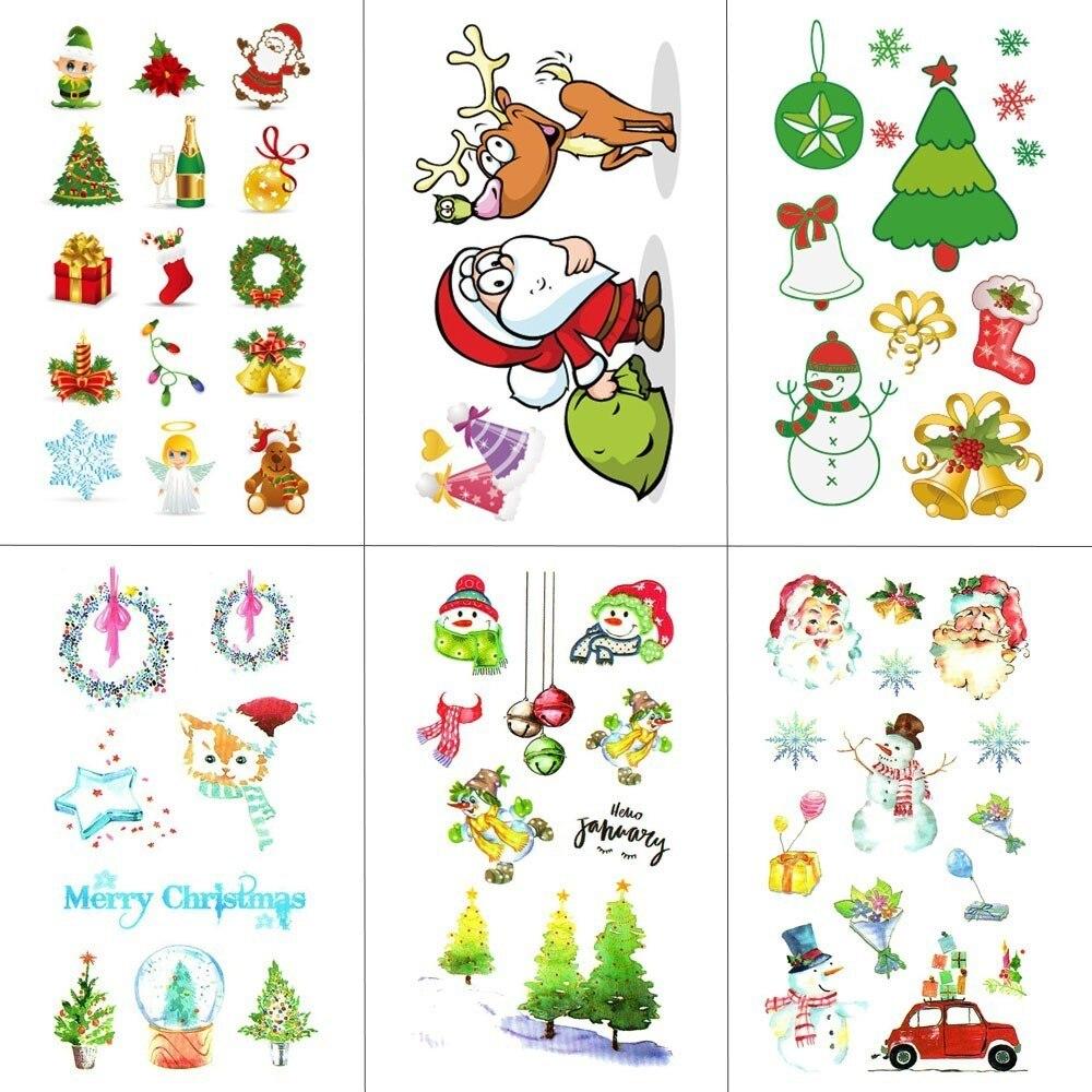HXMAN Christmas Cartoon Children Temporary Tattoo Sticker Waterproof Fake Body Art Tattoos 10.5X6cm Kids Hand Tatoo MX-035
