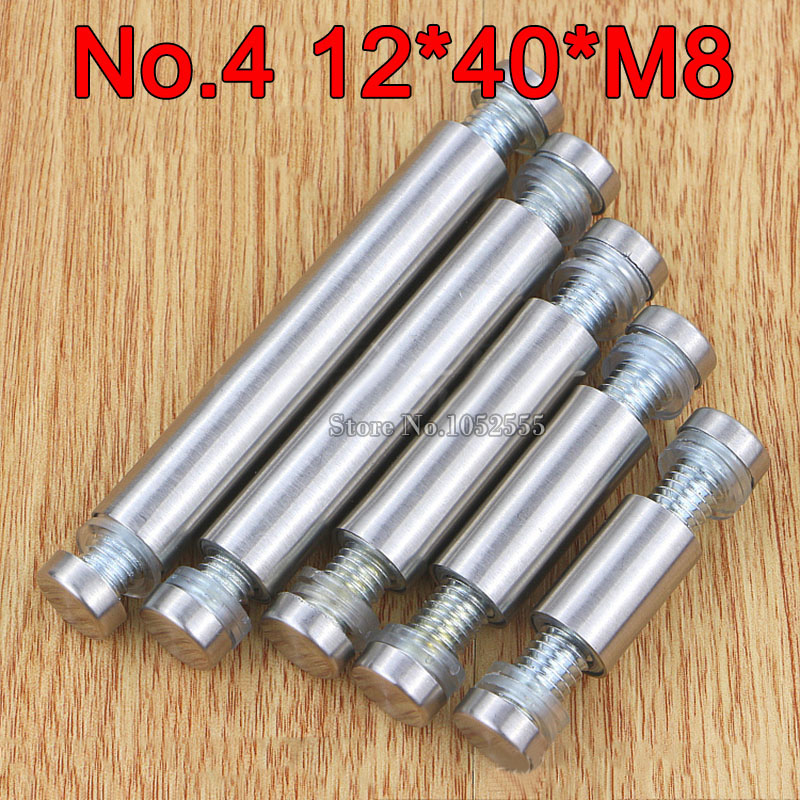 200PCS 12mm 40mm M8 Stainless Steel Double Head Hollow Standoffs Pins Screws Acrylic Glass Advertisement Fixing Nails in Screws from Home Improvement