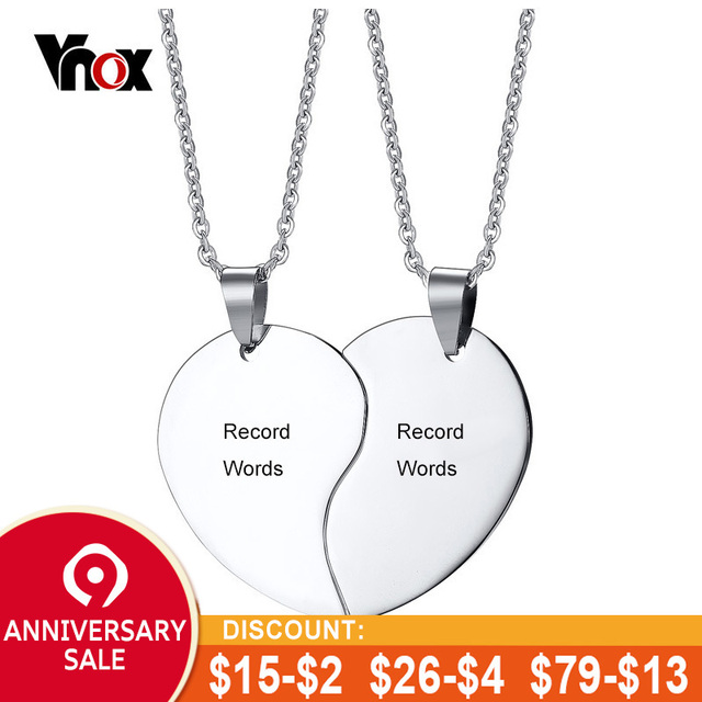 56640c5aa6 Vnox Heart Love Necklaces for Couples Silver Color Stainless Steel  Customized Named Promise Necklace for Women