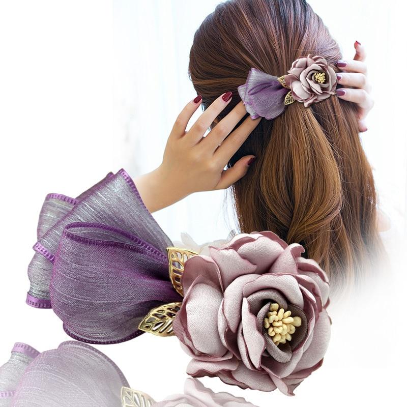 Hairpin Clip Dish-Accessories Headdress Flower-Head Horse-Hair Beautiful Snow-Yarn Women