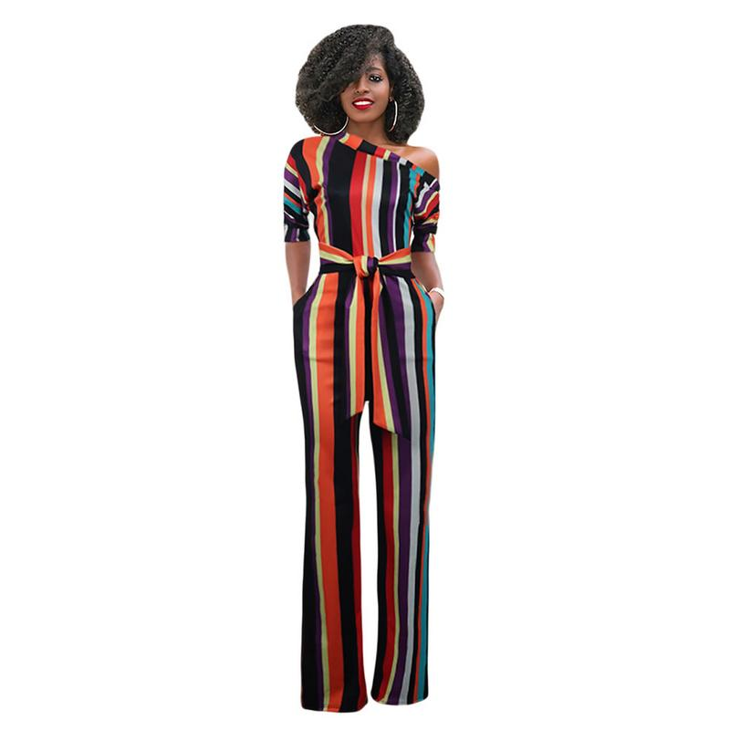 Colorful Print Sexy One Shoulder Long Sleeves Jumpsuit Rompers Women Stripe Long Playsuit Jumpsuit Female Autumn New Overalls