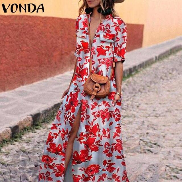 VONDA Floral Printed Women Dress 2019 Vintage  Long Dresses Sexy Casual Half Sleeve High Slit Vestidos Plus Size Beach Wear