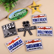 PGY 1 PCS High-quality Hollywood Beating projector Embroidered Patches for Clothing DIY Stripes Clothes Stickers Stars Badges
