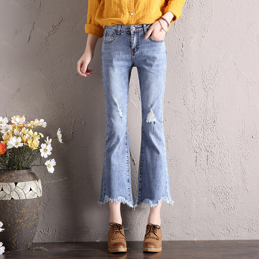 Mid Waist Jeans Woman Spring Summer Vintage Washed Jeans Femme Streetwear Casual Ripped Hole Denim Pants Ankle-Length Jeans