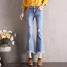 Mid Waist Jeans Woman Spring Summer Vintage Washed Jeans Femme Streetwear Casual Ripped Hole Denim Pants Ankle-Length Jeans недорго, оригинальная цена