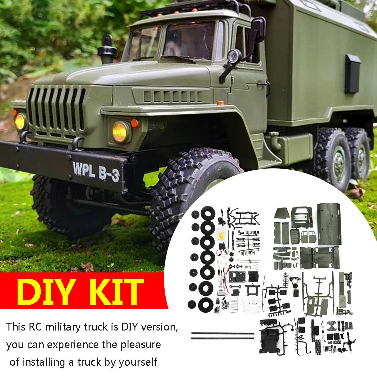 Christmas Toy Gift Remote Control WPL B36 DIY Kit 1/16 2.4G 6WD RC Crawler Military Truck Car Offroad Car toys Buggy Remote Army