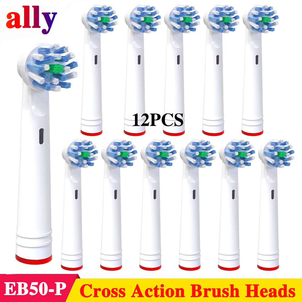 12X EB50 Cross Action toothbrush heads For Braun Oral B Vitality D4510 D12013W D12513 D12523 D16513