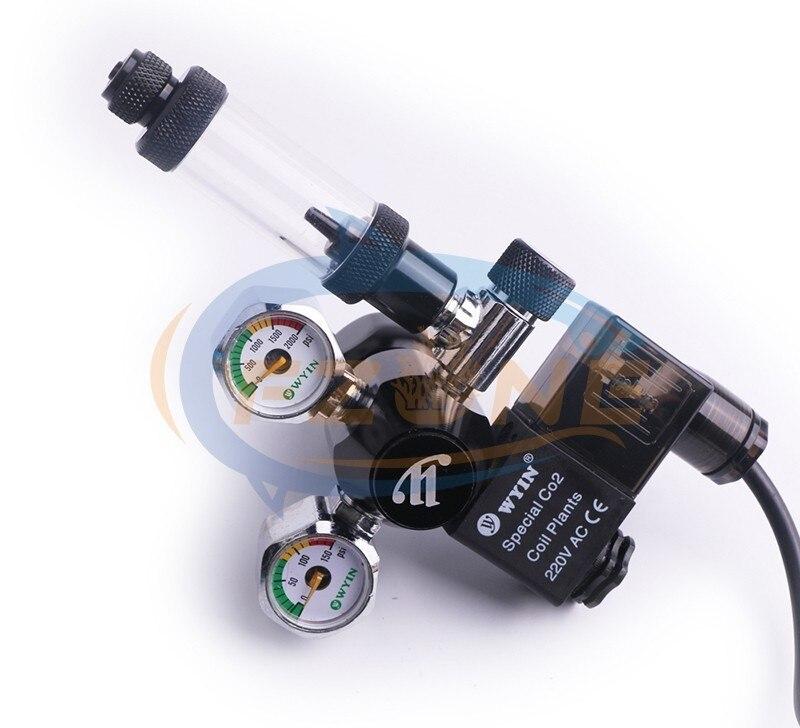 Chihiros acuario Wyin Mini doble calibre CO2 regulador con válvula de contador de burbujas de válvula de solenoide y Kits de instalación - 2