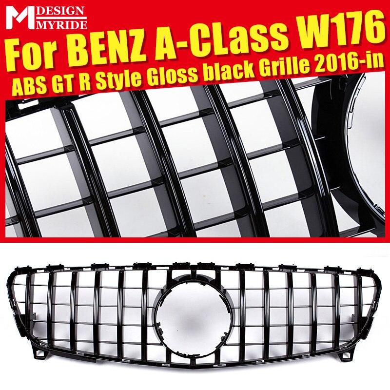Pour W176 GTS Style Grille de pare-chocs avant classe A A180 A200 A250 A45 sans emblème matériau ABS noir brillant Grilles avant 2016-in