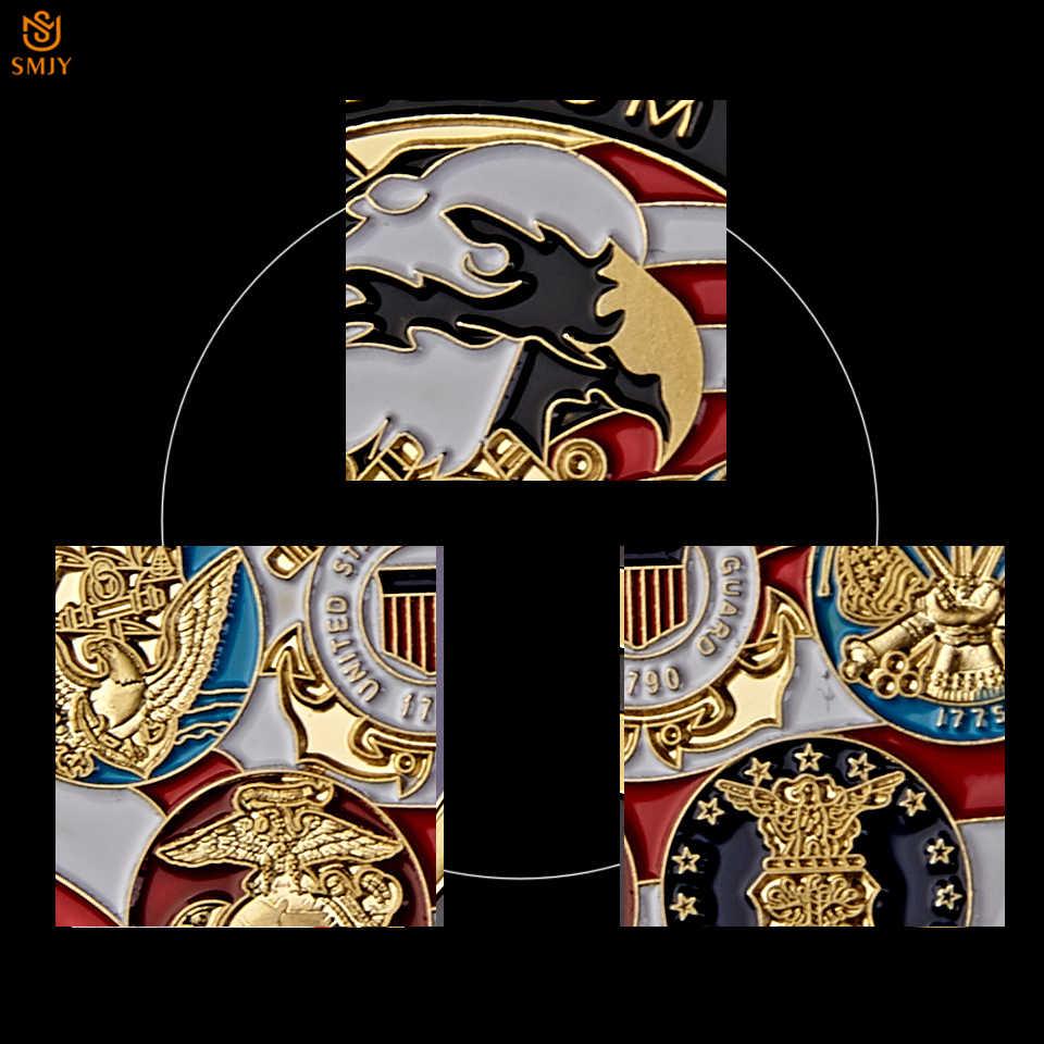 الولايات المتحدة الأمريكية البحرية USAF USMC الجيش خفر السواحل الأمريكية الحرة النسر الطوطم الميدالية الذهبية العسكرية التحدي عملة جمع