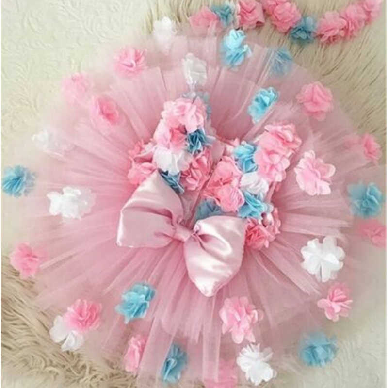 Party Wedding Kids Dresses For Girls Infant Princess Floral Chiffon Bow Sleeveless Baby Girls Pageant Tutu Formal Dress