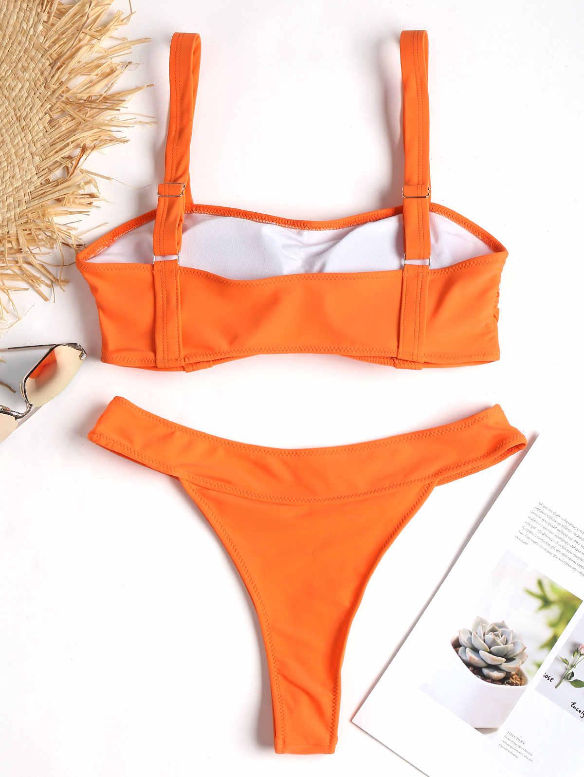 ZAFUL kobiety Bikini Set pasy dekolt pasami wyściełana Bikini Set Lady Sexy Bikini stroje kąpielowe lato plaża strój kąpielowy